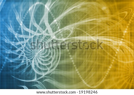 Alien Portal Abstract Background With Futuristic Data Grid - stock photo