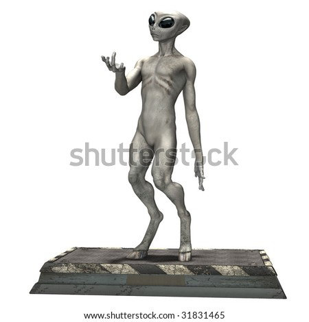 Alien Poses on white background - stock photo