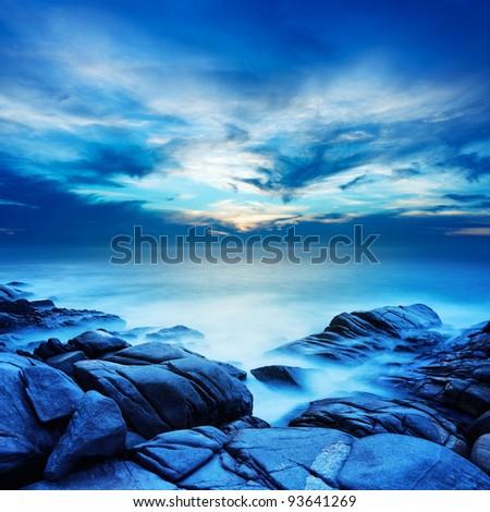 Alien sea at dawn. Long exposure shot. Square composition. - stock photo