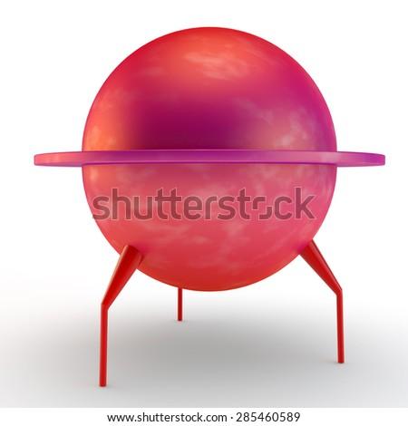 alien ship, round mars rover or UFO - stock photo