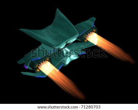 Alien space ship back view on a black background - stock photo