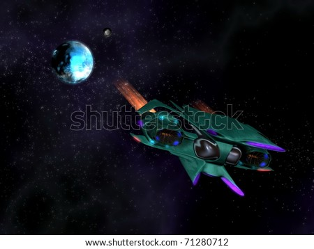 Alien space ship in action in the space with a planet, stars and nebulae in background - stock photo