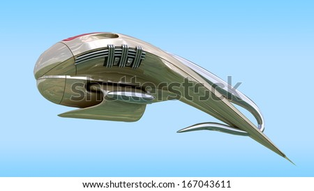Alien spacecraft pod design for science fiction backgrounds of interstellar deep space travel or futuristic military battleship for fantasy games.Clipping path is included in the .jpg file. - stock photo