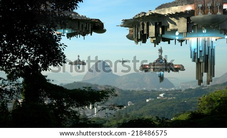 Alien spaceship fleet nearing the Sugarloaf mountain, in Rio de Janeiro, Brazil,  for futuristic, fantasy or interstellar travel or video-game war backgrounds. - stock photo