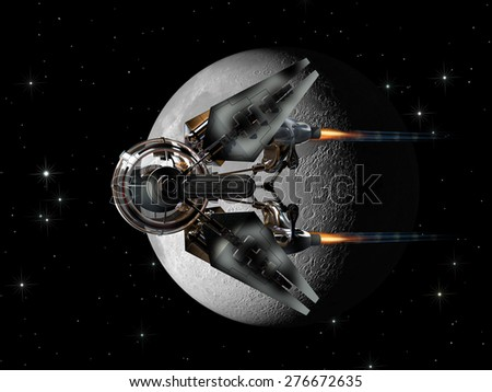 Alien spaceship, with spheric drone like pod, passing the Moon, for futuristic, space exploration or fantasy backgrounds - stock photo