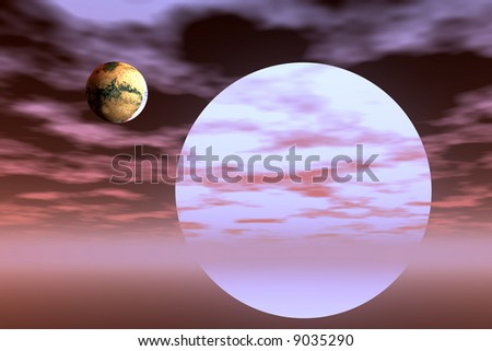 Alien star with planet - stock photo