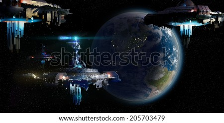 Alien UFO mothership invasion nearing Earth for futuristic, fantasy or interstellar deep space travel backgrounds. Earth map for this image is a .jpg file provided under a general permission by NASA. - stock photo