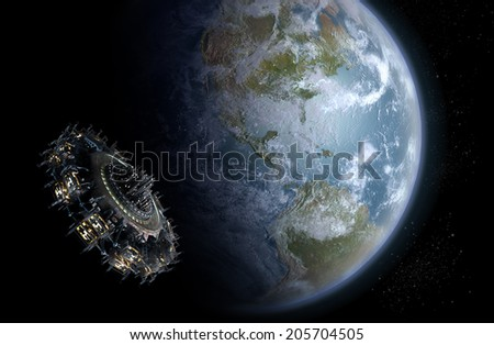 Alien UFO nearing Earth for futuristic, fantasy or interstellar deep space travel backgrounds. Earth map for this image is a .jpg file provided under a general permission by NASA. - stock photo