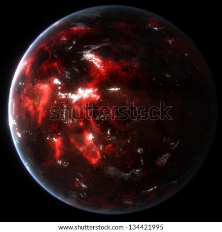 Alien Volcanic Exo Planet - stock photo