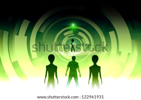 Alien Will  Invasion if Mankind is Continued Destroy Our Earth - stock photo