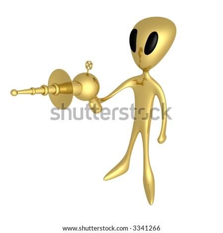 Alien With Lasergun - stock photo