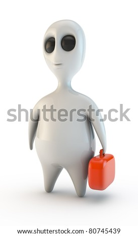 alien worker isolated - stock photo