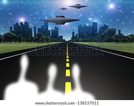 Aliens and ships outside of city - stock photo