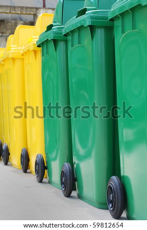 Align of  the recycle bin in different of the colors - stock photo