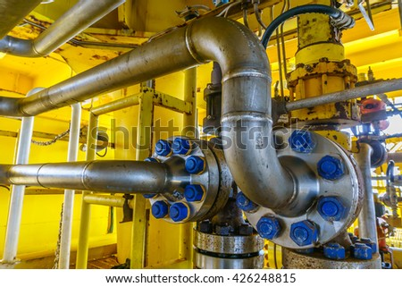 Aligned Auto Control valve and Flow line for oil and gas production process, Pipeline construction on offshore wellhead remote platform, Energy and petroleum industry. - stock photo