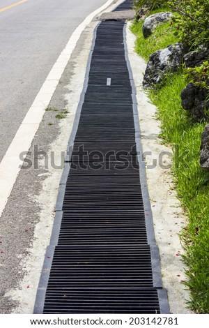 Aligned manhole cover - stock photo