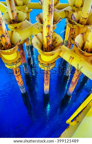 Aligned Oil and Gas Production slots on the sea background in Offshore wellhead remote platform, Energy and petroleum industry.