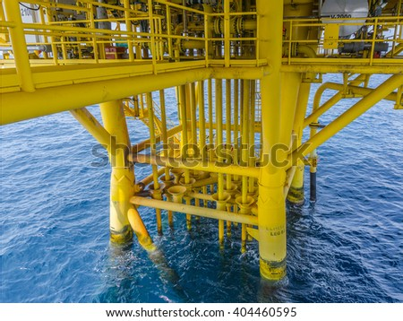 Aligned Oil and Gas Production slots on the sea background in Offshore wellhead remote platform, Energy and petroleum industry. - stock photo