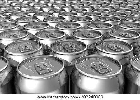 Aligned silver soda cans filling frame - stock photo
