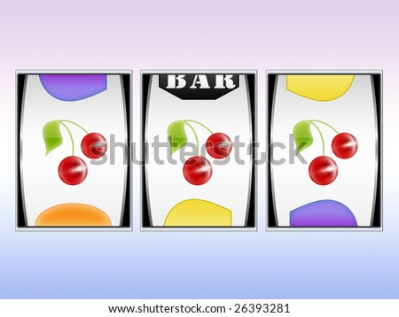 aligned symbols and win in slot machine - stock photo