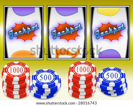Aligned symbols and win in slot machine-slot - stock photo