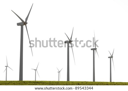 aligned windmills for renowable electric production with white sky