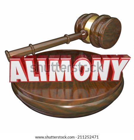Alimony word in 3d letters with a judge's gavel as a legal settlement in case of ex husband and wife financial spousal support - stock photo