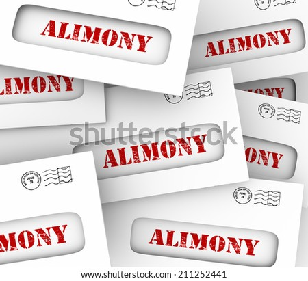 Alimony words on many envelopes as legally required or agreed upon financial obligation and spousal support to ex husband or wife - stock photo