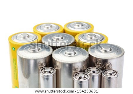 Alkaline batteries symbol of clean energy on a white background.