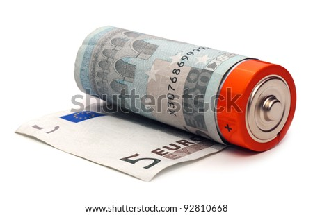 Alkaline battery wrapped in five euro banknote