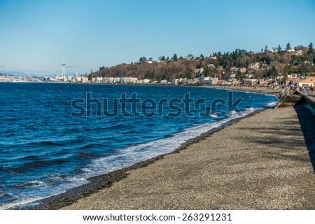 Alki Beach  View of Alki Beach in West Seattle, Washington - stock photo