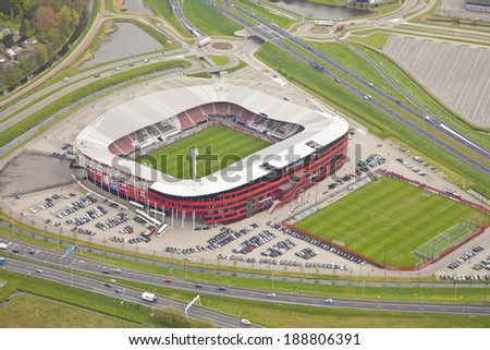 ALKMAAR, THE NETHERLANDS - APRIL 15: Exterior view of the AZ AFAS Stadion from above on April 15, 2014 in Alkmaar, Netherlands. AFAS Stadion is the home stadion of the soccer team AZ Alkmaar - stock photo