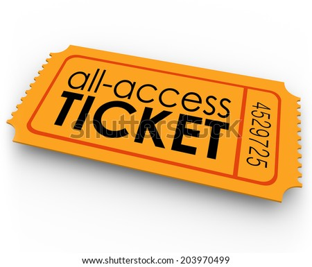 All Access Ticket words orange pass special, exclusive, unlimited admission to rides - stock photo