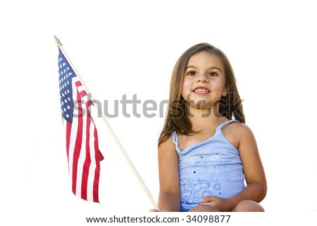 All-American Girl with U.S. Flag - stock photo