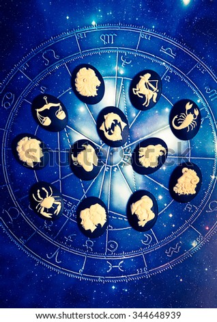 all astrology sign of the zodiac on a chart - stock photo