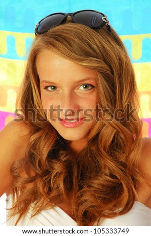 All at sea - A happy girl with the towel to the sea 035 - stock photo