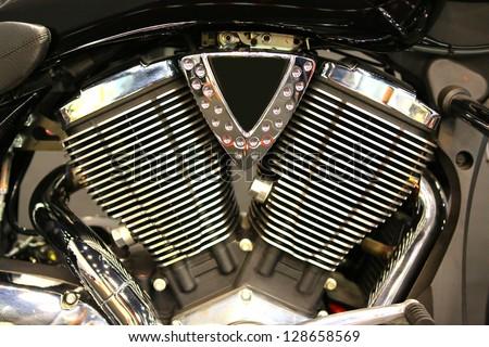 All chromed V-Twin cylinder head - stock photo