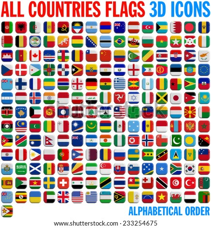All country flags complete set. 3D and isolated square icons. - stock photo