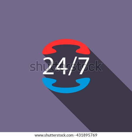 All day customer support call center icon - stock photo