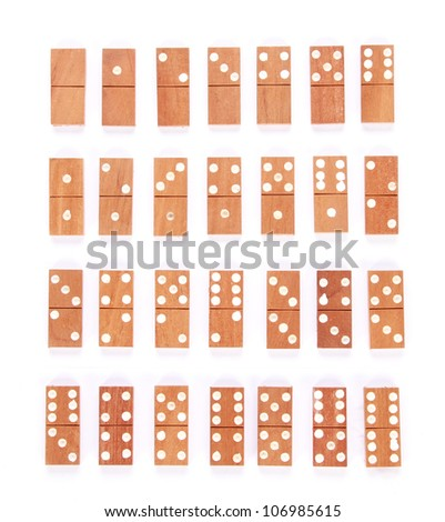 All dominos isolated on white as an abstract concept - stock photo