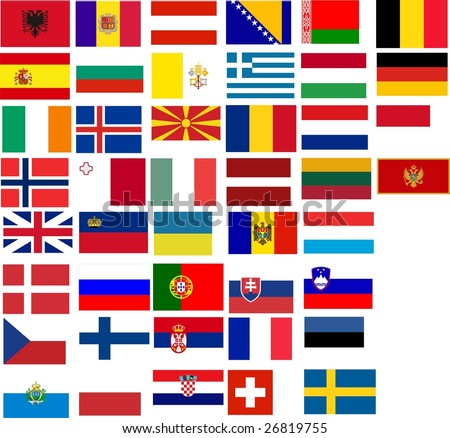 all flags of Europe. Many flags european country