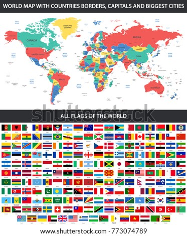 All flags world alphabetical order detailed vectores en stock all flags of the world in alphabetical order and detailed world map with borders countries gumiabroncs Images