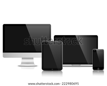 All generations of personal devices (LCD monitor of desktop computer, tablet PC, laptop PC and smart phone) - stock photo