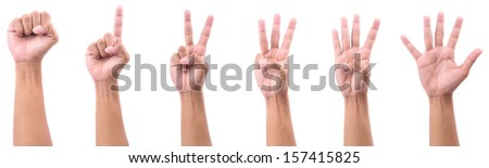 all hand show Number Isolated  on white background
