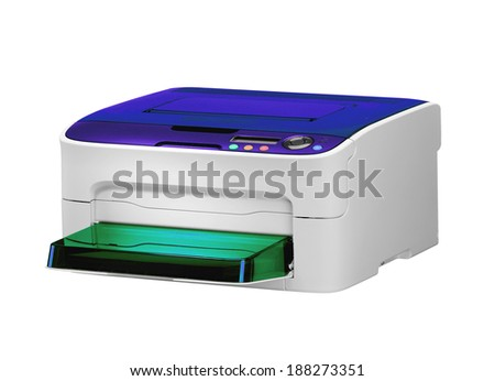All in one printer scaner isolated on white - stock photo