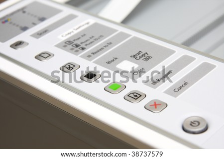 All-in-one printer, scanner, copier. Control view close-up.