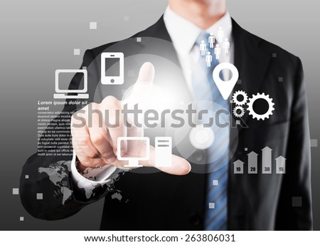 All in one. Technology concept. Businesswoman and virtual interface with web and social media icons - stock photo
