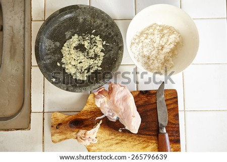 All ingredient to cook chicken porridge - stock photo
