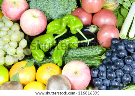 all kinds of fruit and vegetable