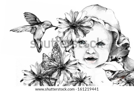 All Natural Nature Baby Original Hand Drawn Illustration - stock photo